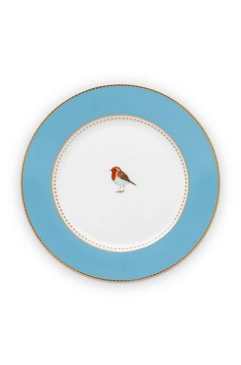 gebaksbordje-love-birds-in-blauw-met-vogel-17-cm