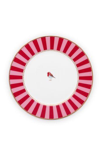 gebaksbordje-love-birds-in-rood-en-roze-met-vogel-17-cm