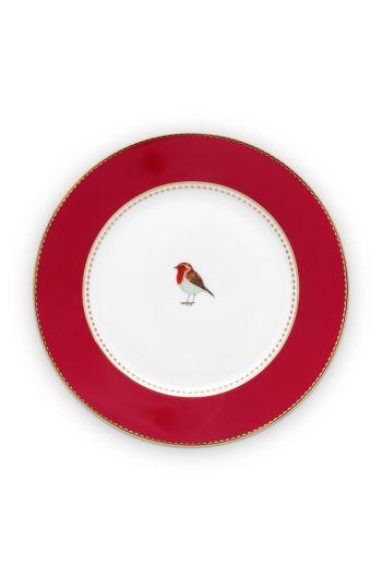 gebaksbordje-love-birds-in-rood-met-vogel-17-cm