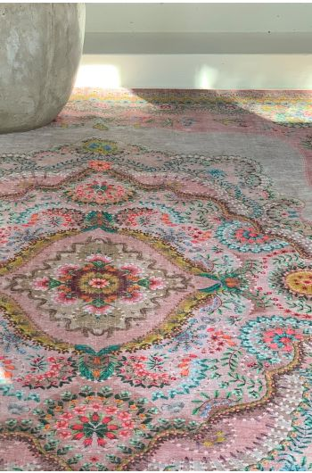 vintage-rectangular-majorelle-by-pip-carpets-in-pastel-pink-with-flower-details