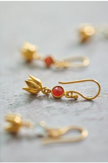 Earrings goldplated Lilly Carnelian