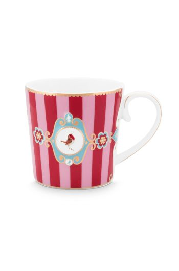 Love Birds Mug Small Stripes Red/Pink