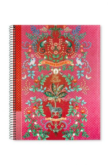 Hardcover Notizblock Jungle Animals A4 – liniert rosa