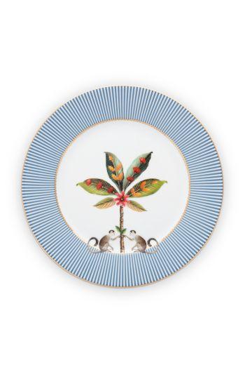 frühstück-teller--la-majorelle-aus-porzellan-mit-eine-palme-in-blau-21-cm