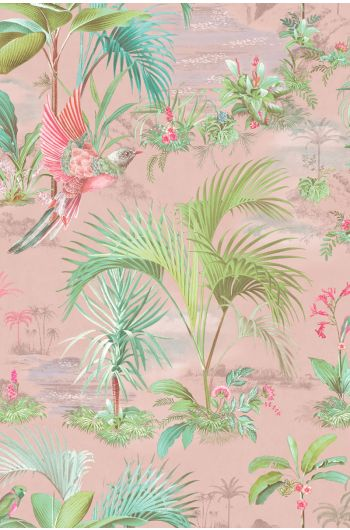Palm Scene Behang Roze