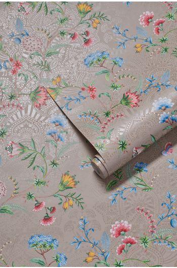 wallpaper-non-woven-vinyl-flowers-khaki-pip-studio-la-majorelle