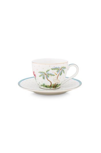 porcelain-cup-&-saucer-jolie-dots-gold-280-ml-6/24-white-blue-trees-bs-51.004.117