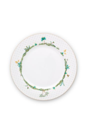 porcelain-deep-plate-jolie-dots-gold-21.5-cm-6/24-white-palmtrees-pip-studio-51.001.251