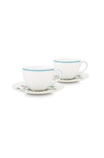 porselein-set/2-espresso-cups-&-saucers-jolie-dots-gold-120-ml-1/24-wit-blauw-bloemen-51.004.118