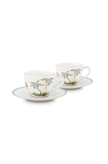 porcelain-set/2-espresso-cups-&-saucers-jolie-dots-gold-280-ml-1/12-blue-white-flowers-pip-studio-51.004.119
