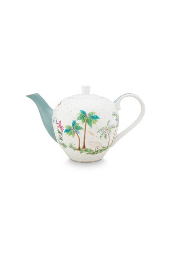 porcelain-tea-pot-small-jolie-dots-gold-750-ml-1/8-blue-palmtree-flower-51.005.059