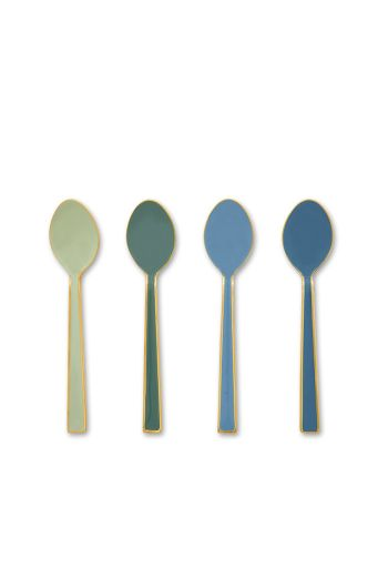 Set/4 Spoons Enamel Spring to Life Green/Blue