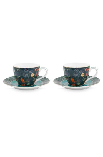 set-2-cappuccino-cup-and-saucer-winter-wonderland-made-of-porcelain-with-flowers-in-dark-blue