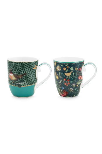 set-2-mugs-small-winter-wonderland-made-of-porcelain-with-a-bird-and-flowers-in-green