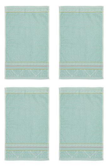 Washandje Set/4 Soft Zellige Blauw 16x22 cm