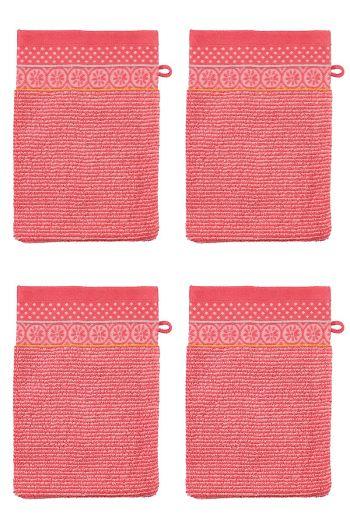 Wash Cloth Set/4 Soft Zellige Coral 16x22 cm