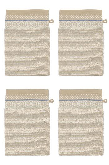 Wash Cloth Set/4 Soft Zellige Khaki 16x22 cm