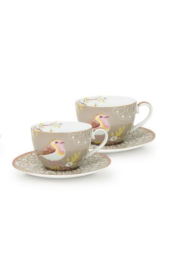 Early Bird Set of 2 Cups and Saucers Khaki