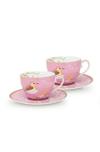 Early Bird Set/2 Cappuccino Tassen & Untertassen Rosa