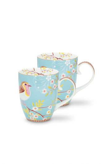 Early Bird Set of 2 Mugs large Blue