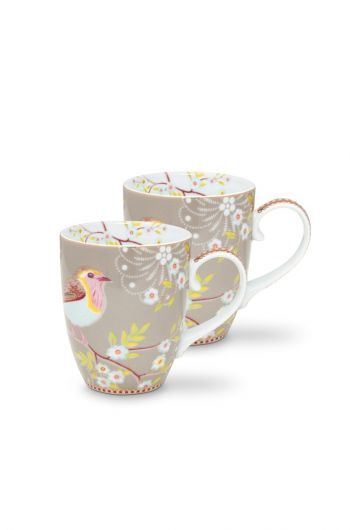 Early Bird Set of 2 Mugs large Khaki