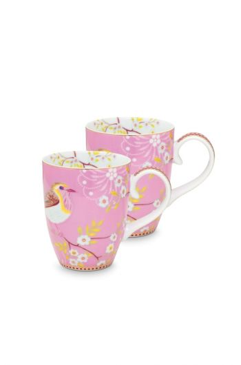 Early Bird Set of 2 Mugs large Pink