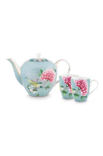 Blushing Birds Thee Set van 3 Blauw