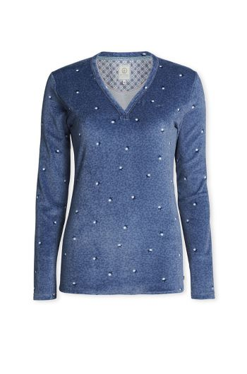 Top lange Ärmel Freckle Blau
