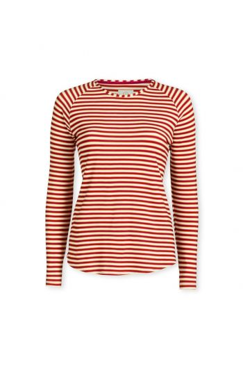Top Lange Mouw Sleepy Stripe Rood