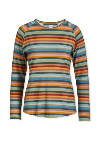 Top Lange Mouw Folklore Stripe Multi