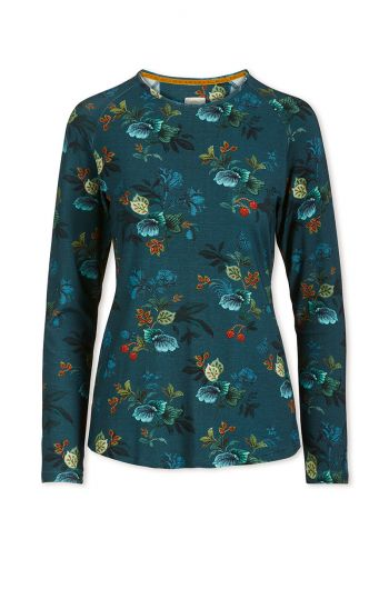 Top Long Sleeve Leafy Stitch Blue