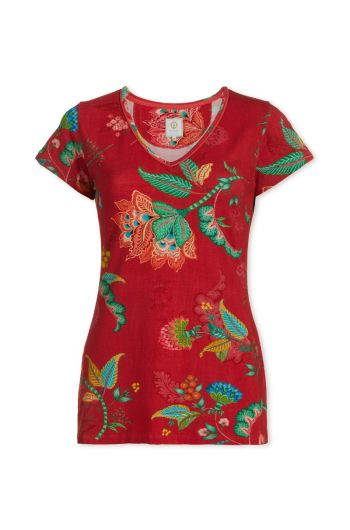 Top short sleeve Jambo Flower Red