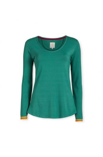Top Long Sleeve Shiny Stripe Green