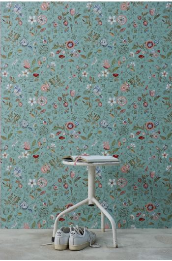 wallpaper-non-woven-vinyl-flowers-green-pip-studio-spring-to-life