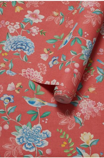 wallpaper-non-woven-vinyl-flowers-red-pip-studio-good-evening