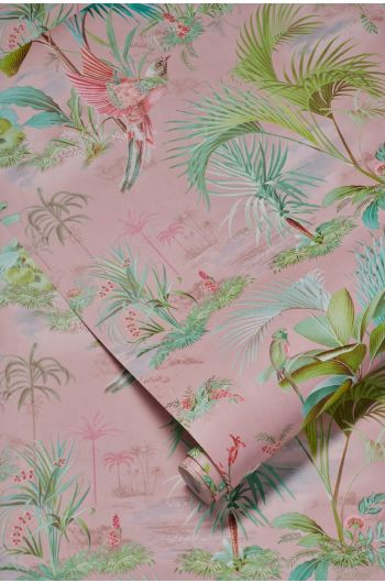 wallpaper-non-woven-vinyl-paradise-bird-palms-pink-pip-studio-palm-scene
