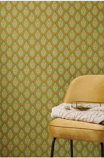 wallpaper-non-woven-vinyl-raindrops-flowers-ocre-pip-studio-raindrops