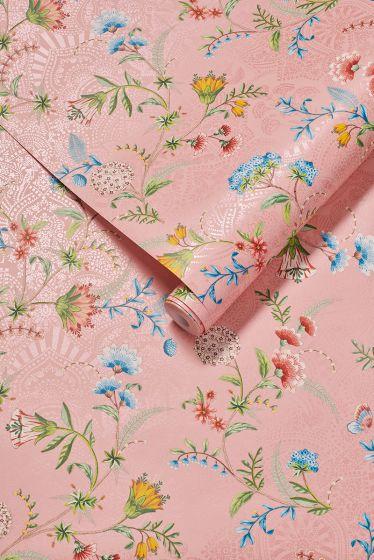 behang-vlies-behang-glad-bloemen-print-roze-pip-studio-la-majorelle