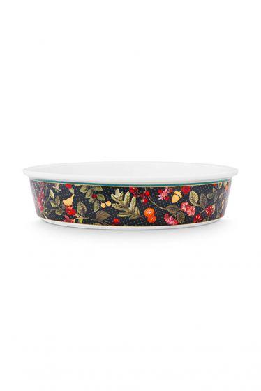 Baking-dish-round-dark-blue-gold-details-winter-wonderland-pip-studio-25,5x5-cm