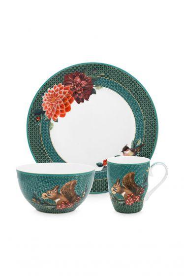 ontbijt-set/3-groen-gouden-details-winter-wonderland-pip-studio