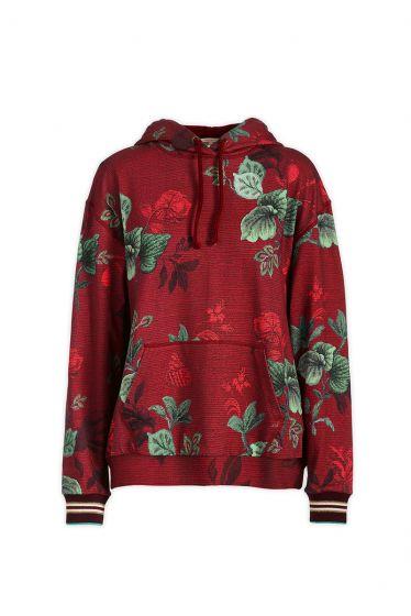 Sweater met Capuchon Leafy Stitch Rood