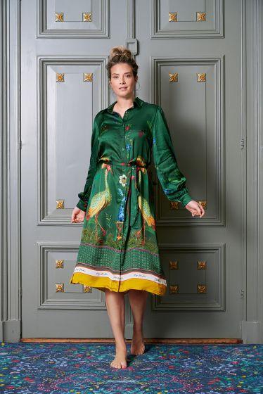 jurk-lange-mouwen-botanische-print-groen-birds-in-love-pip-studio-xs-s-m-l-xl-xxl