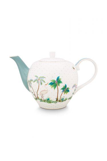 porcelain-tea-pot-large-jolie-dots-gold-1.6-l-1/6-blue-palmtree-flower-51.005.060