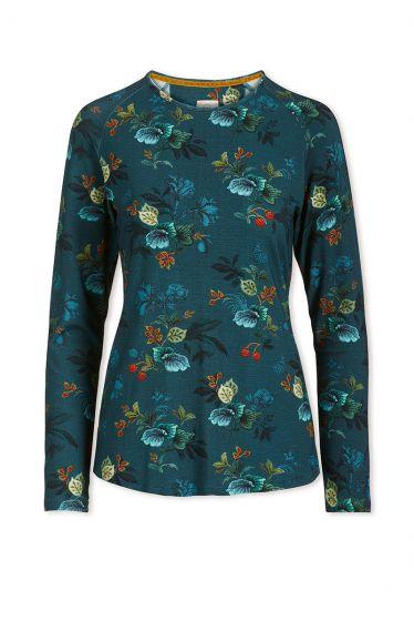 Top mit Langen Ärmeln Leafy Stitch Blau