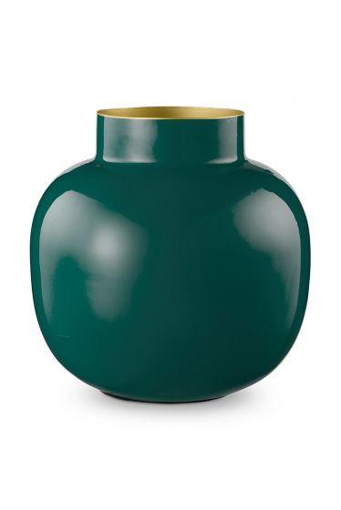 Vase-round-dark-green-metal-pip-studio-25-cm
