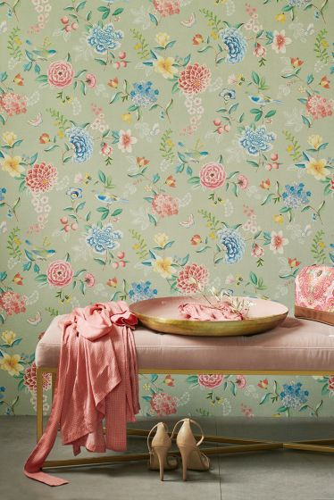 wallpaper-non-woven-vinyl-flowers-green-pip-studio-good-evening
