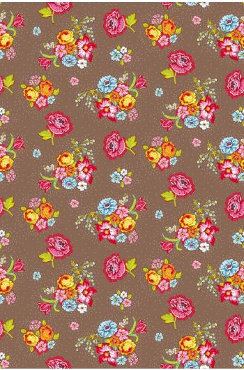 Bunch of Flowers Tapete khaki