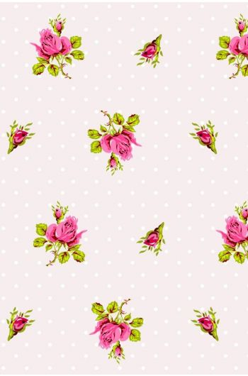 Roses and Dots wallpaper white