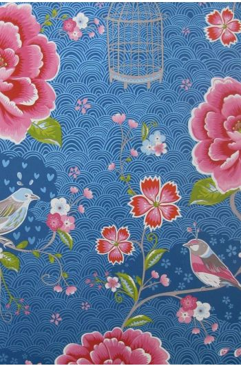 Birds in Paradise wallpaper dark blue