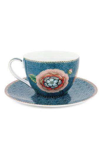 Spring to Life Cappuccino Tasse & Untertasse Blau
